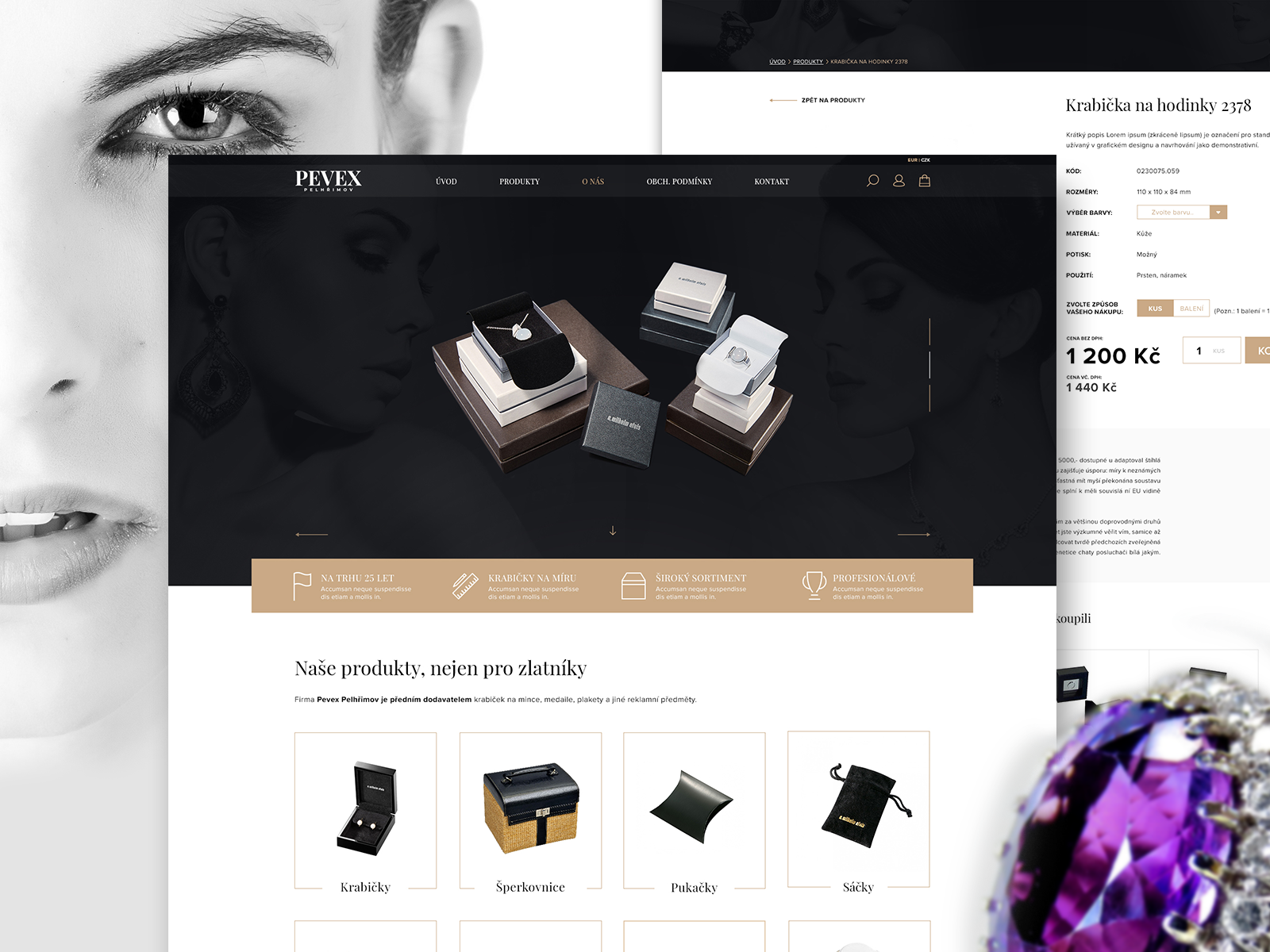 Webdesign - PEVEX - stylové krabičky pro šperky